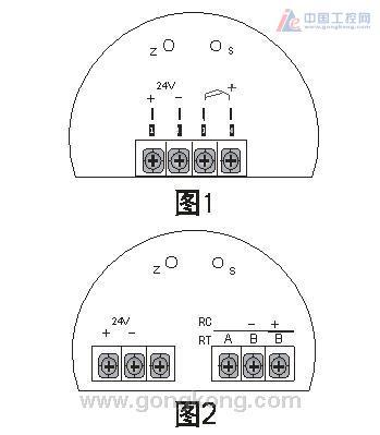 图2 为sbw-644s(带显示)型变送器,1,2端为24v电源接线端子,4,5,6为