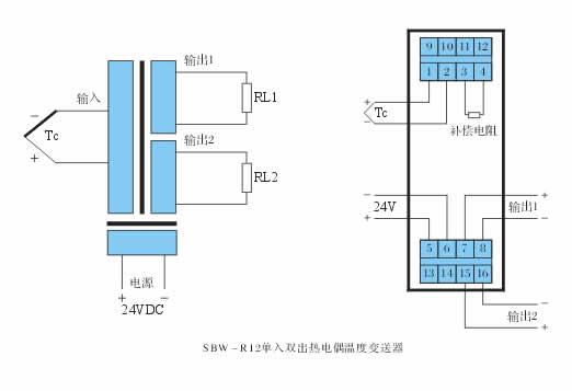 索思sbw-r12单入双出热电偶温度变送器